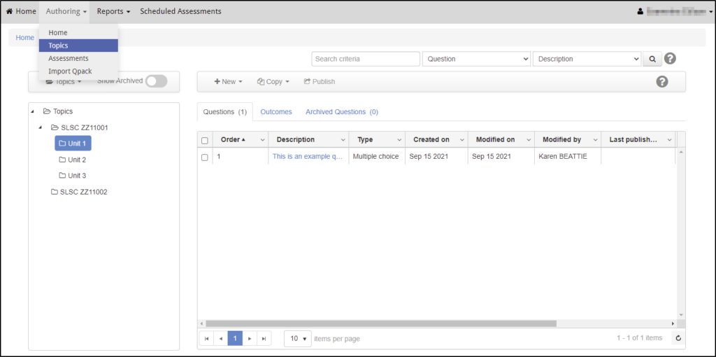 Screenshot of the Questionmark topics and questions area