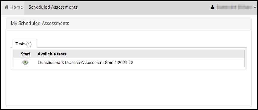 Screenshot of the Questionmark home page showing the My Scheduled Assessments section