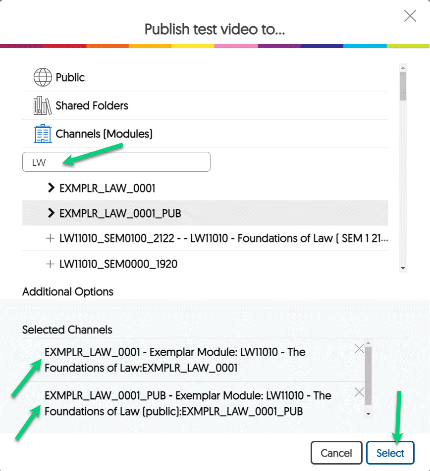 Screenshot of the Publish menu. An arrow is pointing to the search bar, to two modules in the Selected Channels area, and to the Select button.
