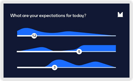 A mentimeter screenshot asking what are your expectations for today? and a graph showing numeric responses. Example of mentimeter.